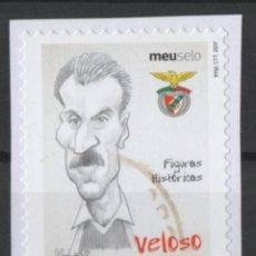 Sellos: PORTUGAL BENFICA CARICATURA JUGADOR FUTBOL VELOSO AUTOADHESIVO USADO * LEER DESCRIPCION. Lote 279520053