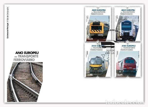 PORTUGAL & FDC AÑO EUROPEO DEL TRANSPORTE FERROVIARIO 2021 (3426) (Sellos - Extranjero - Europa - Portugal)