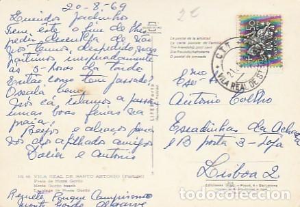 PORTUGAL & CIRCULADO, VILA REAL DE SANTO ANTONIO, PLAYA DE MONTE GORDO, LISBOA 1969 (86) (Sellos - Extranjero - Europa - Portugal)