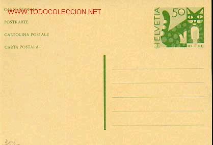 SUIZA FAUNA: GATO, ENTERO POSTAL SIN USAR (Sellos - Extranjero - Entero postales)