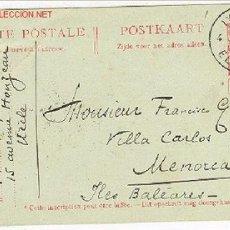 Sellos: ENTERO POSTAL ESCRITA,DE BELGICA A MENORCA ,1911. Lote 26424077