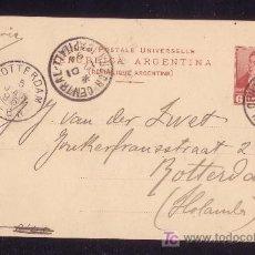 Sellos: ARGENTINA.1894.ENTERO POSTAL 6 CTVOS. DE BUENOS AIRES A HOLANDA.DIVERSAS MARCAS.RARO DESTINO.LUJO.. Lote 24654346
