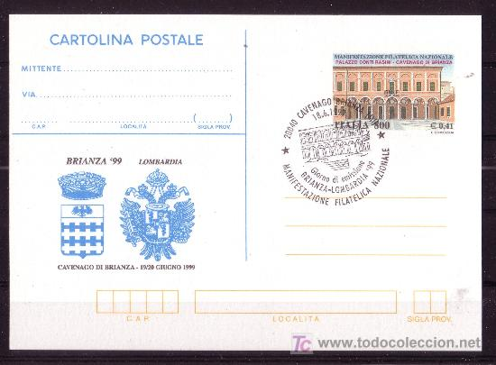 ITALIA ENTERO POSTAL AÑO 1999 - EXPOSICIÓN FILATÉLICA NACIONAL (Sellos - Extranjero - Entero postales)