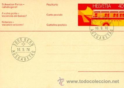 SUIZA, AUTOBUS. ENTERO POSTAL CON MATASELLOS PRIMER DIA DEL 16-9-1976 (Sellos - Extranjero - Entero postales)