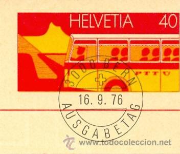 Sellos: Suiza, Autobus. entero postal con matasellos primer dia del 16-9-1976 - Foto 2 - 9523512
