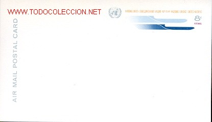 NACIONES UNIDAS - TARJETA ENTERO POSTAL PARA CORREO AEREO SIN USAR (Sellos - Extranjero - Entero postales)