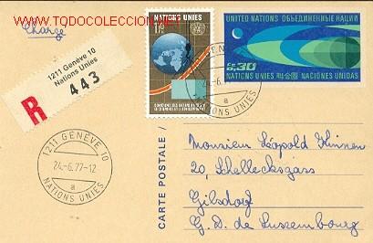 NACIONES UNIDAS - ENTERO POSTAL CIRCULADO (Sellos - Extranjero - Entero postales)