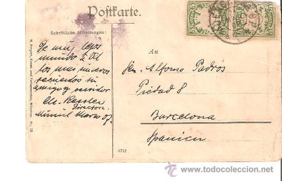 ENTERO POSTAL DE ALEMANIA A BARCELONA 1909 (Sellos - Extranjero - Entero postales)
