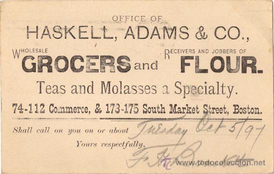 Sellos: ENTERO POSTAL USA. PUBLICIDAD. BOSTON. 1897 - Foto 2 - 27118627