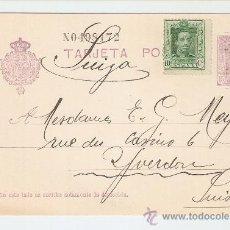 Sellos: ENTERO POSTAL ALFONSO XIII TIPO VAQUER MADRID SUIZA 1928 FRANQUEO COMPLEMENTARIO. Lote 27137683
