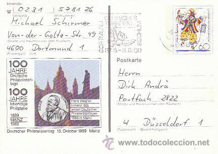 ALEMANIA IVERT Nº 1181, 150 ANIVERSARIO DEL CARNAVAL DE MAYENCE, ENTERO POSTAL CIRCULADO EL 5-4-1990 (Sellos - Extranjero - Entero postales)