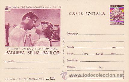 RUMANIA, EL BOSQUE DE LOS COLGADOS, PELICULA DEL AÑO 1965 DE REBREANU, ENTERO POSTAL (Sellos - Extranjero - Entero postales)