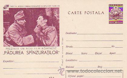 RUMANIA,CINE, EL BOSQUE DE LOS COLGADOS, PELICULA DEL AÑO 1965 DE REBREANU, ENTERO POSTAL (Sellos - Extranjero - Entero postales)
