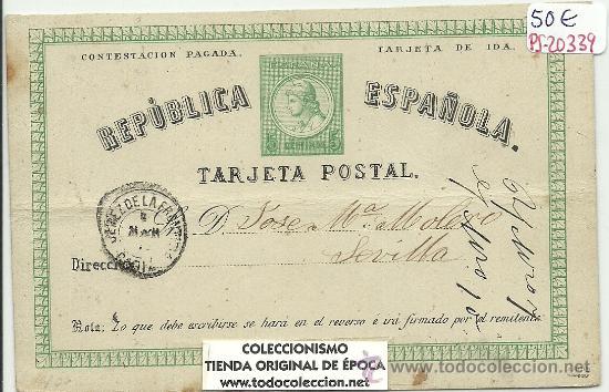 (PS-20339)ENTERO POSTAL REPUBLICA ESPAÑOLA CIRCULA EN EL AÑO 1875 (Sellos - Extranjero - Entero postales)