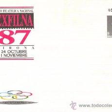 Sellos: SOBRE ENTERO POSTAL CONMEROTATIVO OFICIAL.EXPO FILATELIA NACIONAL EXFILNA 87. GIRONA. SELLO 8 PTAS.. Lote 26606524