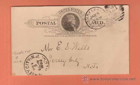 PRECIOSO ENTERO POSTAL FECHADO EN 1889 MATASELLOS PERFECTOS (Sellos - Extranjero - Entero postales)