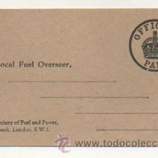 Sellos: TO LOCAL FUEL OVERSEER. THE MINISTRY OF FUEL AND POWER. LONDON. (OFFICIAL PAID) 1943. Lote 30552232
