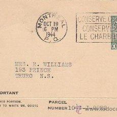 Sellos: ENTERO POSTAL PRIVADO DE LA IMPERIAL TOBACCO COMPANY, MATASELLO DE 19-10-1944. CONSERVAR EL CARBÓN. Lote 32297290