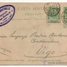 Sellos: ENTERO POSTAL BÉLGICA. 5 + 5 CÉNTIMOS. CIRCULADO BRUSELAS - VIGO. 28 DE JULIO DE 1901.. Lote 34321953