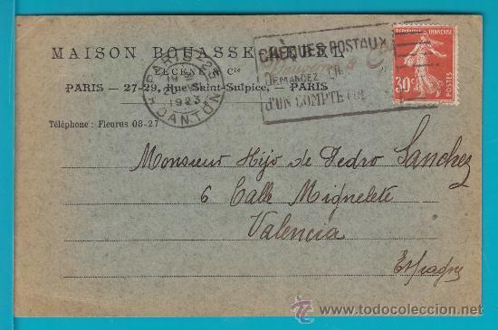 ENTERO POSTAL FRANCIA 1923, MAISON BOUASSE LEBEL CHEQUE POSTAUX, PARIS - VALENCIA (Sellos - Extranjero - Entero postales)
