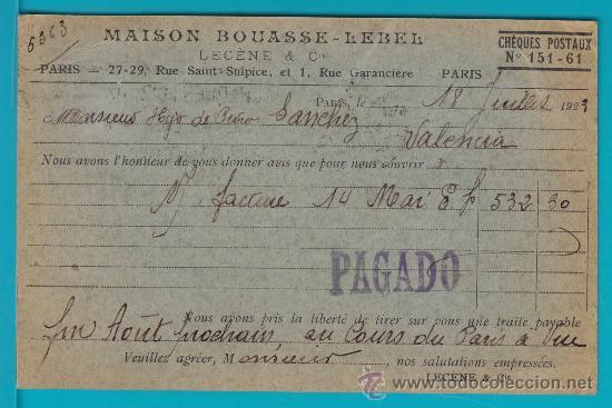 Sellos: ENTERO POSTAL FRANCIA 1923, MAISON BOUASSE LEBEL CHEQUE POSTAUX, PARIS - VALENCIA - Foto 2 - 34581828