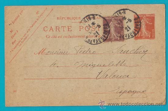 ENTERO POSTAL FRANCIA, REPUBLIQUE FRANCAISE CARTE POSTALE 21 MAI 1921 PARIS VALENCIA (Sellos - Extranjero - Entero postales)