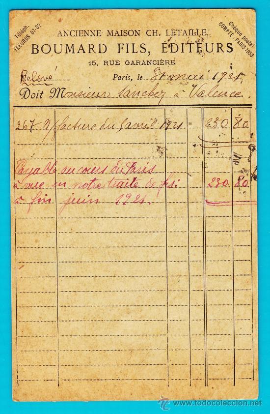 Sellos: ENTERO POSTAL FRANCIA, REPUBLIQUE FRANCAISE CARTE POSTALE 21 MAI 1921 PARIS VALENCIA - Foto 2 - 34582028