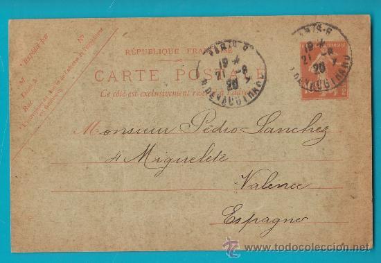 ENTERO POSTAL FRANCIA, REPUBLIQUE FRANCAISE CARTE POSTALE 21 AOUT 1920 PARIS VALENCIA (Sellos - Extranjero - Entero postales)