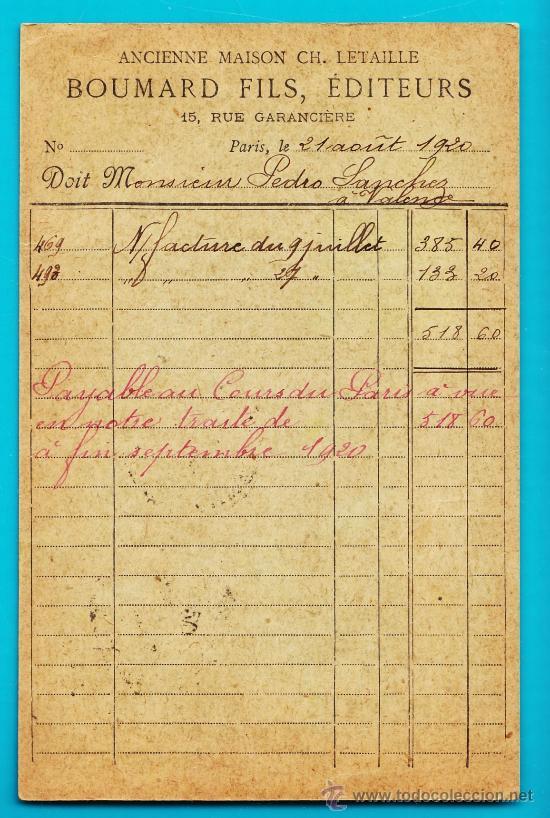 Sellos: ENTERO POSTAL FRANCIA, REPUBLIQUE FRANCAISE CARTE POSTALE 21 AOUT 1920 PARIS VALENCIA - Foto 2 - 34582078