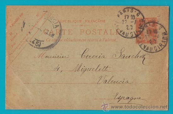 ENTERO POSTAL FRANCIA, REPUBLIQUE FRANCAISE 27 JUILLET 1920, CARTE POSTALE PARIS VALENCIA (Sellos - Extranjero - Entero postales)