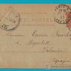Sellos: ENTERO POSTAL FRANCIA, REPUBLIQUE FRANCAISE 27 JUILLET 1920, CARTE POSTALE PARIS VALENCIA. Lote 34582121