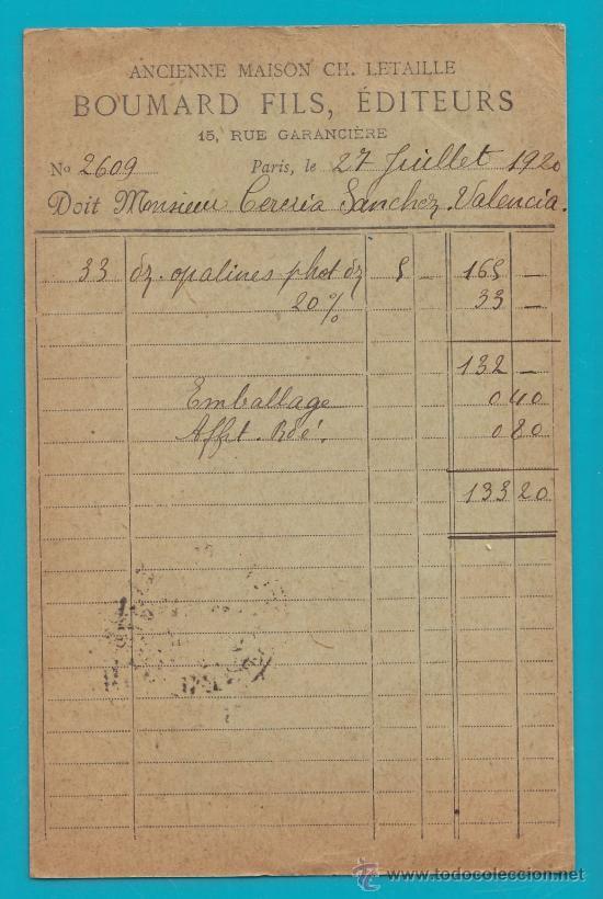 Sellos: ENTERO POSTAL FRANCIA, REPUBLIQUE FRANCAISE 27 JUILLET 1920, CARTE POSTALE PARIS VALENCIA - Foto 2 - 34582121