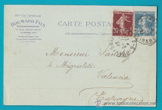 ENTERO POSTAL FRANCIA 1924 PARIS VALENCIA, ANCIENNE MAISON CH. LETAILLE BOUMARD FILS EDITEURS, (Sellos - Extranjero - Entero postales)
