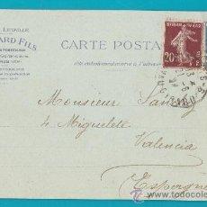 Sellos: ENTERO POSTAL FRANCIA 1924 PARIS VALENCIA, ANCIENNE MAISON CH. LETAILLE BOUMARD FILS EDITEURS, . Lote 34582224