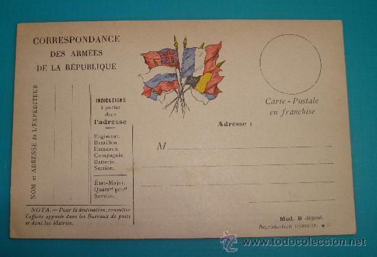 TARJETA POSTAL DE LOS EJERCITOS DE LA REPUBLICA, CON BANDERAS DE LOS ALIADOS PRIMERA GUERRA MUNDIAL (Sellos - Extranjero - Entero postales)