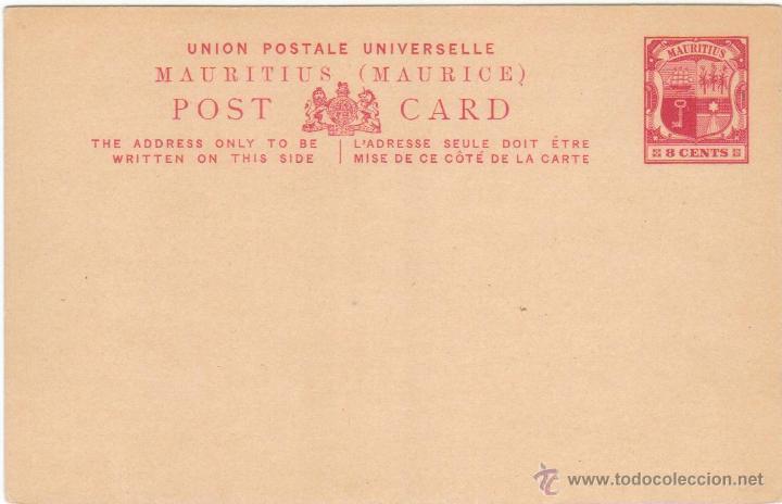 ISLA MAURICIO MAURITIUS TARJETA POSTAL 8 CENTAVOS 1890 1920 SC EP (Sellos - Extranjero - Entero postales)