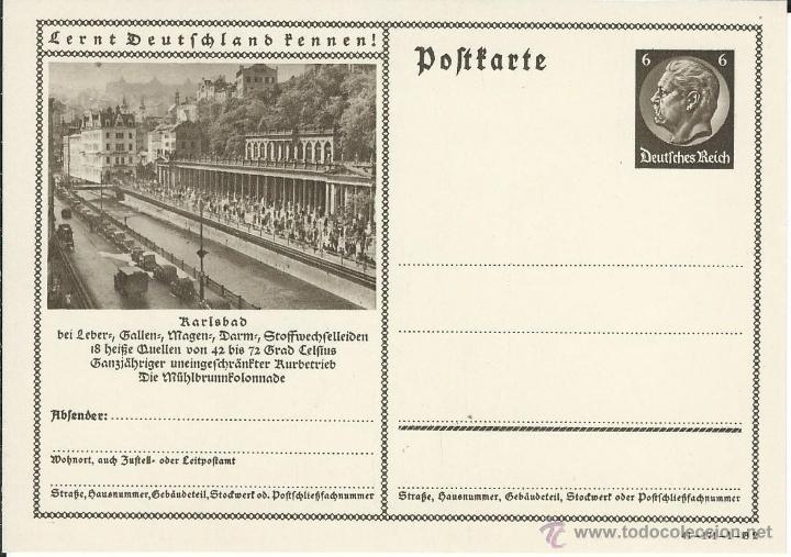 ENTERO POSTAL ALEMANIA NAZI DEUTSCHES REICH, CONOCER ALEMANIA, KARLSBAD SUDETES (Sellos - Extranjero - Entero postales)