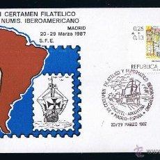 Sellos: ARGENTINA SOBRE ENTERO POSTAL MATASELLADO 1987 XII CERTAMEN FILATELICO Y NUMISMATICO IBEROAMERICANO . Lote 45627250