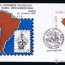 Sellos: ARGENTINA SOBRE ENTERO POSTAL MATASELLADO 1987 XII CERTAMEN FILATELICO Y NUMISMATICO IBEROAMERICANO . Lote 45627261