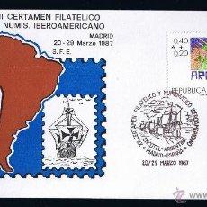 Sellos: ARGENTINA SOBRE ENTERO POSTAL MATASELLADO 1987 XII CERTAMEN FILATELICO Y NUMISMATICO IBEROAMERICANO . Lote 45627272