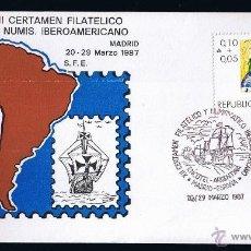 Sellos: ARGENTINA SOBRE ENTERO POSTAL MATASELLADO 1987 XII CERTAMEN FILATELICO Y NUMISMATICO IBEROAMERICANO . Lote 45627294