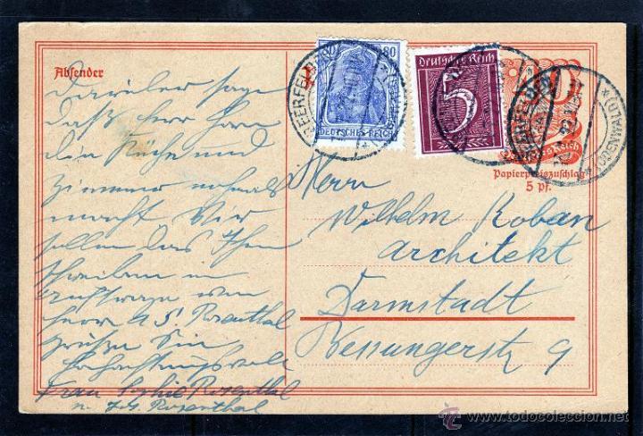 ALEMANIA. ENTERO POSTAL 1922 FRANQUEO ADICIONAL DEUTSCHES REICH (Sellos - Extranjero - Entero postales)