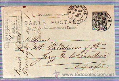 ENTERO POSTAL. DE FRANCIA DIRIGIDO A JEREZ, CADIZ. 1900 (Sellos - Extranjero - Entero postales)