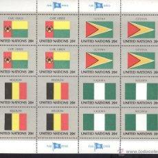 Sellos: NACIONES UNIDAS. PLIEGO COMPLETO, CON 16 SELLOS Y BANDERAS DE CABO VERDE, GUYANA, BELGICA Y NIGERIA. Lote 53007735