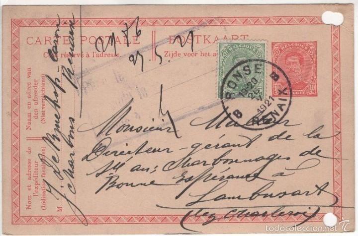 BELGICA ENTERO POSTAL RONSE RENAIX 1921. FRANQUEO ADICIONAL (Sellos - Extranjero - Entero postales)