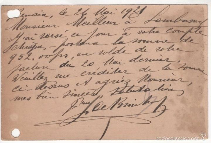 Sellos: BELGICA ENTERO POSTAL RONSE RENAIX 1921. FRANQUEO ADICIONAL - Foto 2 - 56310385
