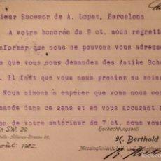 Sellos: ENTERO POSTAL ALEMANIA, CIRCULADO 1904 CON SOBREIMPRESIÓN PRIVADA. Lote 56401854