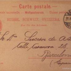 Briefmarken - Entero postal Suiza , circulado 1903 con sobreimpresión privada - 56546709
