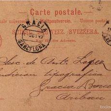 Briefmarken - Entero postal Suiza, circulado 1892 con sobreimpresión privada - 56546836