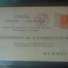 Sellos: CANADÁ QUEBEC MINISTERE DE L'AGRICULTURE ENTERO POSTAL AGRICULTURA AZÚCAR. Lote 72707641